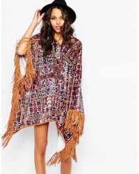 Jaded London - Velvet Poncho Cape Coat In Carpet Floral Print & Fringe Detail - Lyst