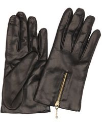 Portolano | Black Wool Blend Lined Leather Zip Cuff Gloves | Lyst