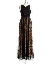 Abs By Allen Schwartz Jewelry Lace Overlay Gown - Lyst