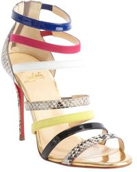 Christian Louboutin Gold Leather Mariniere 100 Multi-color Embossed Accent Open Toe Sandals - Lyst