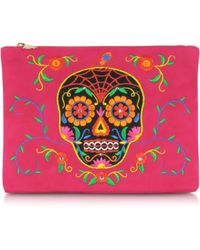 Charlotte Olympia Fiesta Pink Dead Nice Pouch W/Embroidery & Crystal Detail - Lyst