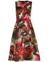 Erdem Mackenzie Tamae Leaf-Print Silk-Gazar Dress - Lyst