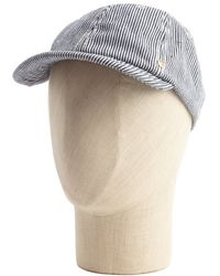 Grace Hats - Blue Wave Print Straw And Burlap Band Cap - Lyst