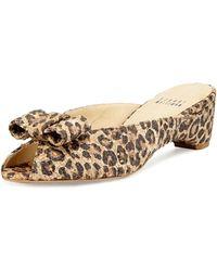 Stuart Weitzman Candy Leopard-print Woven Bow Slide Sandal - Lyst