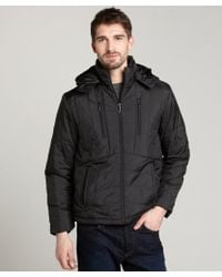 T-Tech By Tumi | Black Quilted and Hooded Coat | Lyst