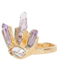 Unearthen White Sapphire and Amethyst Eye Crown Ring gold - Lyst