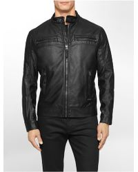 Calvin Klein White Label Faux Leather Moto Jacket - Lyst