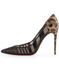 Christian Louboutin Bandy Mesh Stripe Red Sole Pump - Lyst