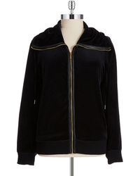 Calvin Klein Plus Velour Hoodie with Fold Over Collar - Lyst