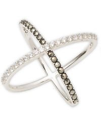 Judith Jack - Cubic Zirconia, Marcasite And Sterling Silver X Ring - Lyst