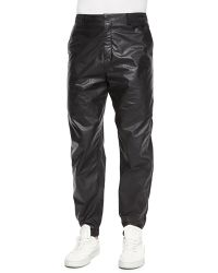 T By Alexander Wang Leather/Nylon Mix Track Pants - Lyst