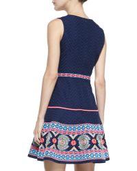 Shoshanna Sleeveless Embroideredhem Dress - Lyst