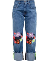Christopher Kane Wide Leg Jeans With Lace Embroidery - Lyst