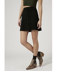 Topshop Suede A-Line Popper Front Skirt - Lyst