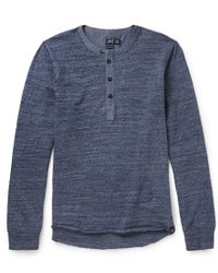 Grayers - Todd Chambray and Cotton-jersey Henley T-shirt - Lyst