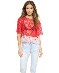 Cynthia Rowley Lace Tee - Red - Lyst