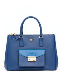 Prada Saffiano Bi-color Pocket Tote Bag - Lyst