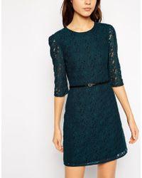Oasis Lace Long Sleeve Shift Dress - Lyst