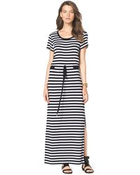 Michael Kors Striped Drawstring Maxi Dress - Lyst