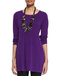 Eileen Fisher Silk Jersey Longsleeve Tunic - Lyst