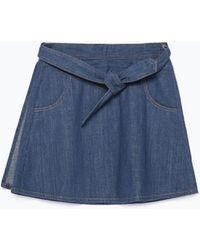 Zara Denim Skirt With Belt - Lyst