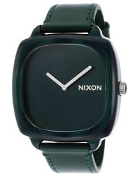 Nixon Mens Shutter Green Genuine Leather and Dial - Lyst