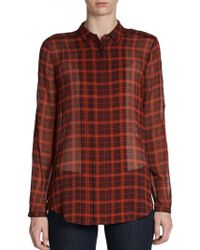Burberry Brit Silk Checkprint Blouse - Lyst