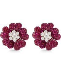 Simon Teakle - Vintage Van Cleef & Arpels Ruby And Diamond Earrings - Lyst