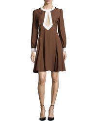 Michael Kors Long-Sleeve Cady Cutout Mini Dress - Lyst