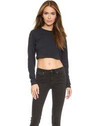 True Religion Joan Smalls X Fitted Crop Sweatshirt - Charcoal - Lyst