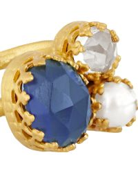 Kevia - Gold-tone, Crystal And Faux Pearl Ring - Lyst