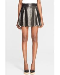 RED Valentino Embellished Leather Skirt black - Lyst