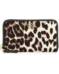 Tory Burch Robinson Calf Hair Zip Wallet - Lyst