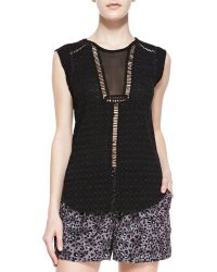 Rebecca Taylor Womens Geo Clip Brocade Sleeveless Top - Lyst