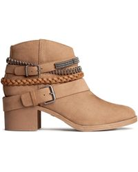 H&M Beige Ankle Boots - Lyst