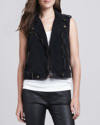 Current/Elliott Sleeveless Denim Moto Vest - Lyst