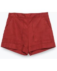 Zara Large Pocket Shorts red - Lyst