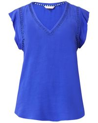 Rebecca Taylor Embroidered-Circles Crepe Top - Lyst