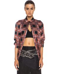 Rodarte Printed Plaid Silk Top - Lyst