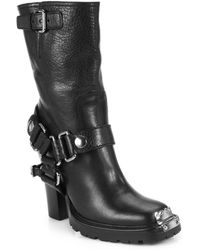 Miu Miu Leather Motorcycle Mid-calf Boots - Lyst