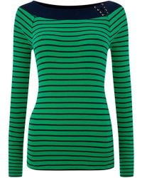 Lauren by Ralph Lauren Striped Ballet Neck Top - Lyst
