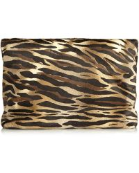 Tamara Mellon - Dazzle Animal-Print Calf Hair Clutch - Lyst