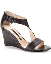 French Connection Black Unice Wedge Sandals - Lyst