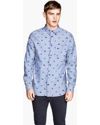H&M Patterned Chambray Shirt - Lyst