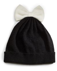 Kate Spade Colorblock Beanie with Bow - Lyst