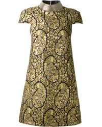 Saint Laurent Flowers Embroidered Lamé Dress - Lyst