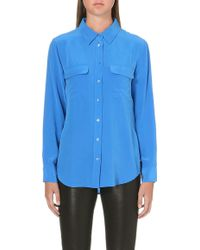 Equipment Signature Solid Washedsilk Shirt Blue - Lyst
