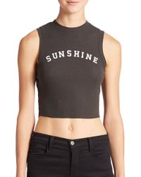 Wildfox Sunshine Cropped Tank Top - Lyst