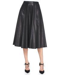 Alice + Olivia Leather Centerpleat Skirt - Lyst