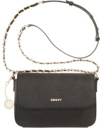 DKNY Saffiano Leather Small Flap Crossbody with Chain - Lyst